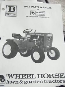 1975 Parts Manual Wheel Horse Lawn Garden Tractors B 100 Automatic