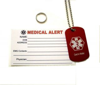 Personalized Medical Alert Dog Tag Id Tag Ice Tag
