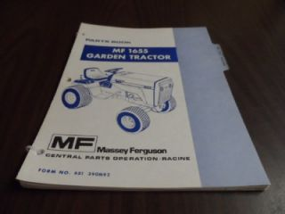 Massey Ferguson MF 1655 Garden Tractor Parts Catalog Manual 651390M92