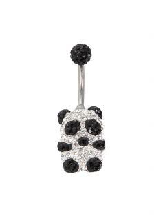 Morbid Metals Bling Black Panda Curved Navel Barbell