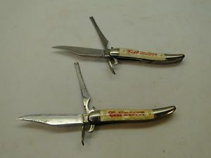 Vintage Imperial Pocket Folding Knife Fish Colt Beverages Pearl Celluloid Lot 2
