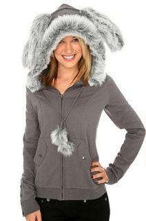 Grey Bunny Ears Faux Fur Hoodie