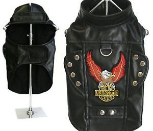 Motorcycle Leather Jacket Dog Harness Eagle Patch Studded Biker Vest Dog Clothes