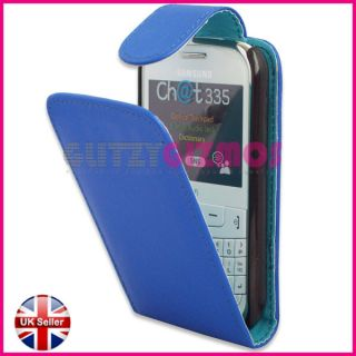 Stylish Blue PU Leather Flip Case Cover Pouch for Samsung Chat CH T335 S3350