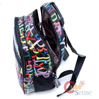 Betty Boop Laptop Bag School Large Backpack Leather Rainbow Typo Black