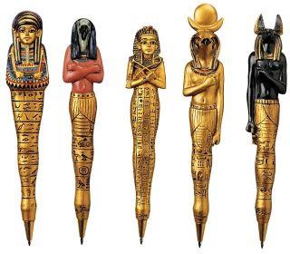 Five Ancient Relic Egyptian Pharaohs Queens Sculptural Journal Diary Pen Set