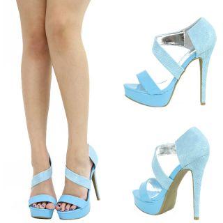 Mint Light Blue Open Toe Mary Jane High Heel Platform Stiletto Women Pump Sandal