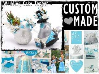 Love Birds Wedding Cake Topper Custom Made Your Wedding Color Handmade Gift Art