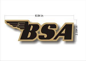 British BSA Motorcycles Emblem Logo Motorcycle Decal Sticker x1 Gold Black
