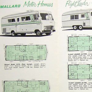 Vtg Mallard Motor Homes Brochure Ad Floor Plans Travel Trailers Truck Campers BK