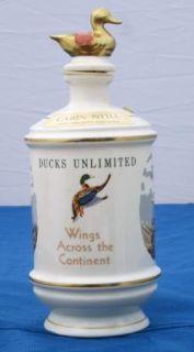 Jim Beam Whiskey Decanter Cabin Still Talisman Porcelain Ducks Unlimited '73