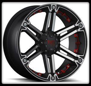 "20"" x 9"" Tuff T01 Black Rims w 33x12 50R20LT Toyo Open Country M T Wheels Tires"