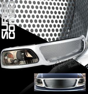 99 02 Ford Chrome Grille Smoke LED Headlight F150 00 01