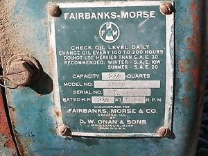 2 5HP Fairbanks Morse Air Cooled Engine manufactured by Onan 1B 7