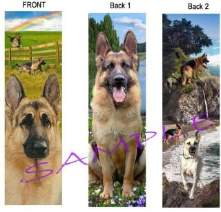 2 German Shepherd Dog Bookmark Book Mark Beach Rainbow