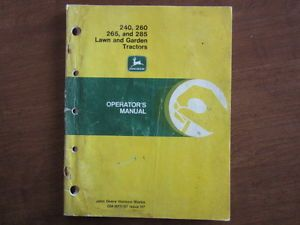John Deere 240 260 265 285 Garden Tractor Owners Maintenance Manual