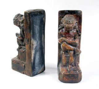 Antique Cherub Bookends Italian Art Plaster Angels Perfect Condition Free s H