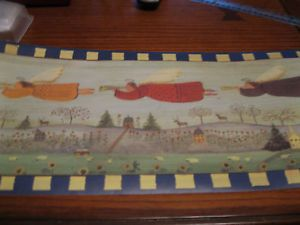 Folk Art Primitive Angels Country Angel Wallpaper Border Navy Blue Trim EH00064