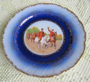 Early 1900's Victoria China Hunt Scene Plate Cobalt Border Gold Trim Austria