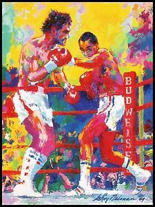 Sugar Ray Leonard Roberto Duran Boxing Leroy Neiman Photo Print Art Post Card