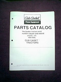 Cub Cadet Model 1864 684 Garden Tractor Serial 880 001 Above Parts Manual