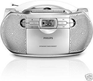 New Philips AZ1027 Portable Stereo Boombox CD Radio Cassette Player 220V