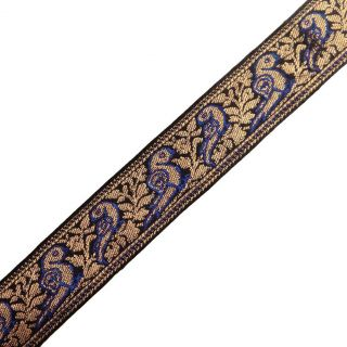 Navy Blue Ribbon Trim Parrot Design Metallic Sari Border Jacquard Ribbon 4 4 Yd