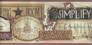 Wallpaper Border Country Wood Plaques for Country Kitcken Living Room Red Trim