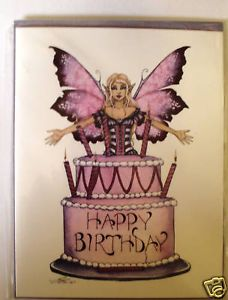 Amy Brown Print Note Card Fairy Happy Birthday Cake New