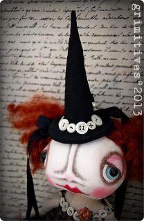 Ehag Primitive Folk Art Halloween Witch Doll Pfatt