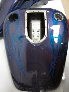 Harley Dyna Wide Glide FXDWG Custom Purple Blue Flames Paint Set Tank Fenders