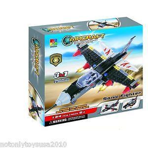 Military Sonic Fighter Jet 3 in 1 Building Blocks Lego 134pcs 35425 Freegift