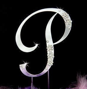 French Flower Crystal Wedding Cake Topper Top Letter