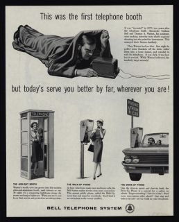 1961 Bell Telephone System Retro Phone Booth Pay Phones Vintage Ad