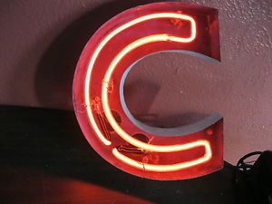 "Vintage Neon Sign Channel Letter ""C"" Neon Art Wall Art Industrial Art Old Neon"