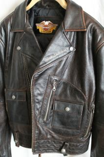 """Harley Davidson """"Exhaust"""" Leather Motorcycle Jacket Men's XL Great Condition"""