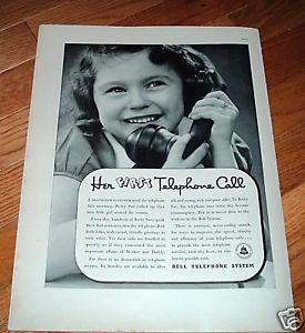 1937 Bell Telephone Ad Betty Sue First Phone Call