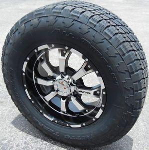 "17"" Black MKW Wheels Rims Nitto Terra Grappler Tires Silverado GMC Sierra Tacoma"