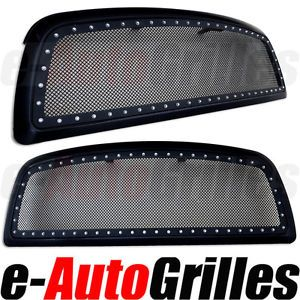 09 12 Dodge RAM 1500 Black Stainless Mesh Black Outer Shell Rivet Billet Grille