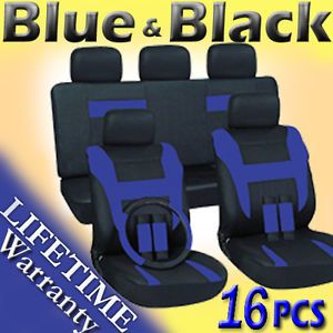 16pc Set Blue Black Pickup Truck Seat Covers Steering Wheel Belt Pad Head Rest