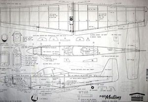"""WWII P 51D Mustang Model Plane Plan Wing 35 """" C L 051 to 10 Engines Balsa"""