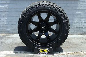 "20"" Fuel Off Road Octane Black Nitto Trail Grappler 35x12 50R20 35"" Mud Tires"