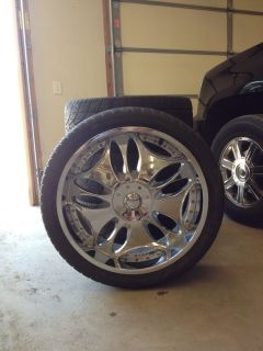 24 inch Panther 330 Wheels Tires Rims Cadillac Escalade GMC Chevy Dub 6 x 139 7