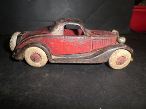 Neat Old Original Cast Iron Sedan Car with Rubber Tires and Nickel Grill C 1929