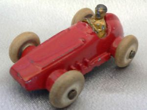 """Vintage Diecast White Rubber Tire Race Car Toy with Driver 2"""" Long Streamlined"""