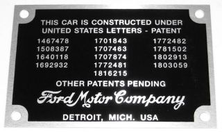 1932 1934 Ford Patent Data Plate w Rivets Rat Hot Rod Tag Body ID Vtg Style