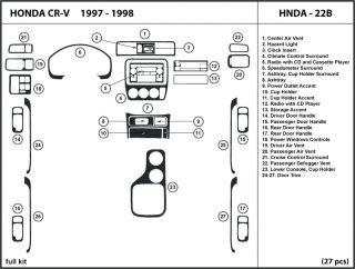 Honda CR V 97 98 1997 1998 Wood Dash Kit Trim Tuning Interior Dashboard Hnda 22B