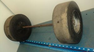 "Vintage Pedal Car Dragster Rear Wheel Axle 3"" x 9"" Tires"