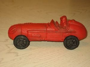 Cast Iron Race Car with Old Red Paint Black Cast Iron Tires Super Condition