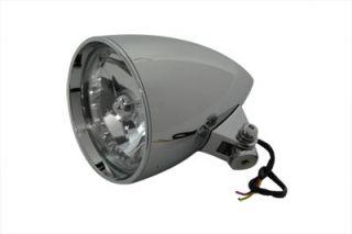 """Chrome 5 3 4"""" Billet Rocket Headlamp Headlight for Harley Custom Bobber Chopper"""